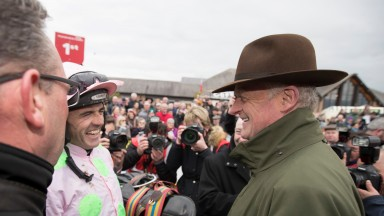 A happy Ruby Walsh and Willie Mullins after Bapaume had won the AES Champion Four Year Old Hurdle (Grade 1).Punchestown Festival.Photo:Patrick McCann 29.04.2017