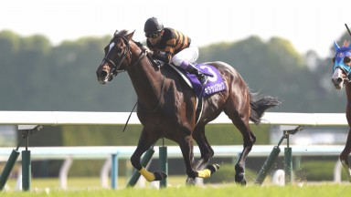 Kitasan Black (Yutaka Take) strikes for home in the Tenno Sho (Spring) at Kyoto racecourse