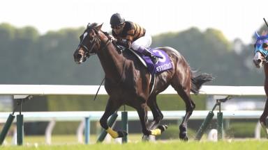 Kitasan Black (Yutaka Take) strikes for home in the Tenno Sho (Spring) at Kyoto racecourse