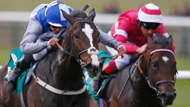 Eminent and Jim Crowley (left) get the better of favourite Rivet in the bet365 Craven Stakes at Newmarket