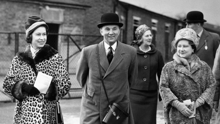 Trainer Peter Cazalet accompanies the Queen and the Queen Mother