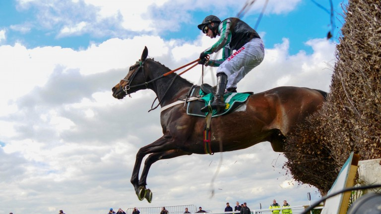 Altior on the way to victory in the Celebration Chase at Sandown