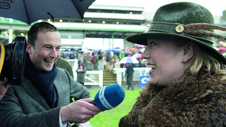 Tom Lee interviews his sister Kerry Lee after Mountainous had won the Welsh NationalChepstow 9.1.16 Pic: Edward Whitaker