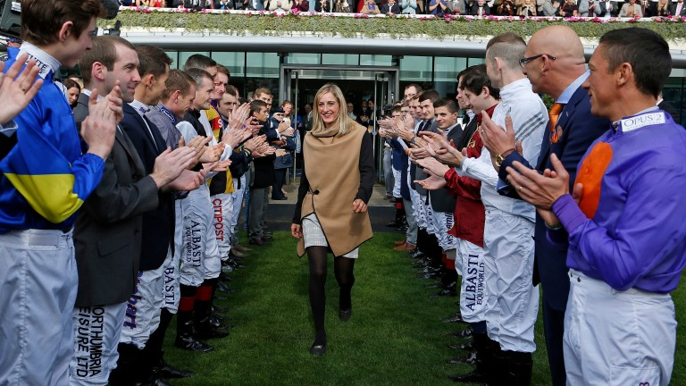 Josephine Gordon is applauded by her weighing-room colleagues before receiving her champion apprentice award at Ascot last year
