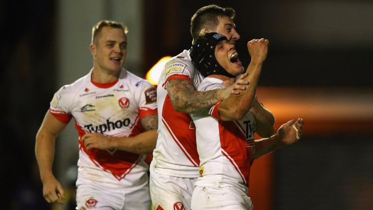 St Helens celebrate a try