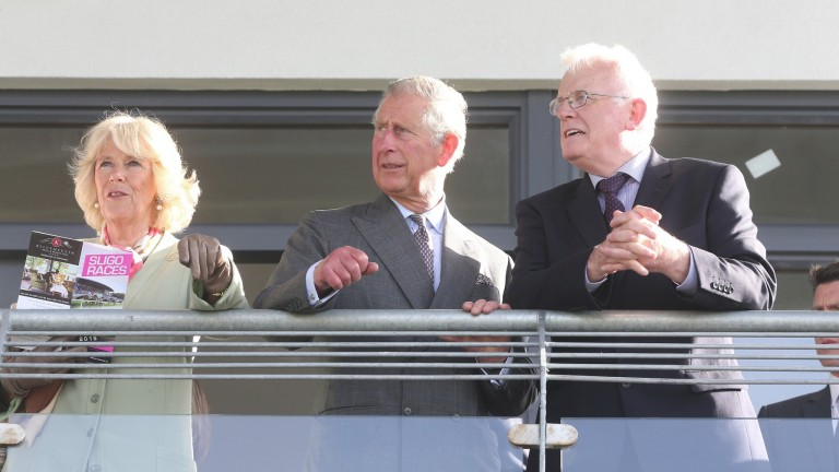 Prince Charles and the Duchess of Cornwall with racecourse chairman Kieran O'Connor at Sligo in 2015