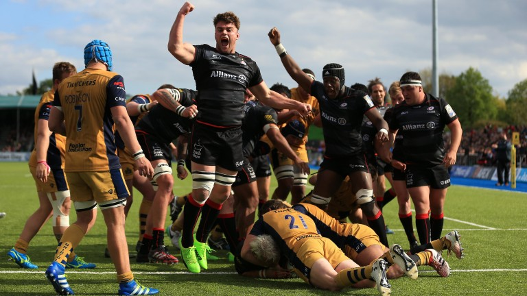 Saracens celebrate a try against Bristol