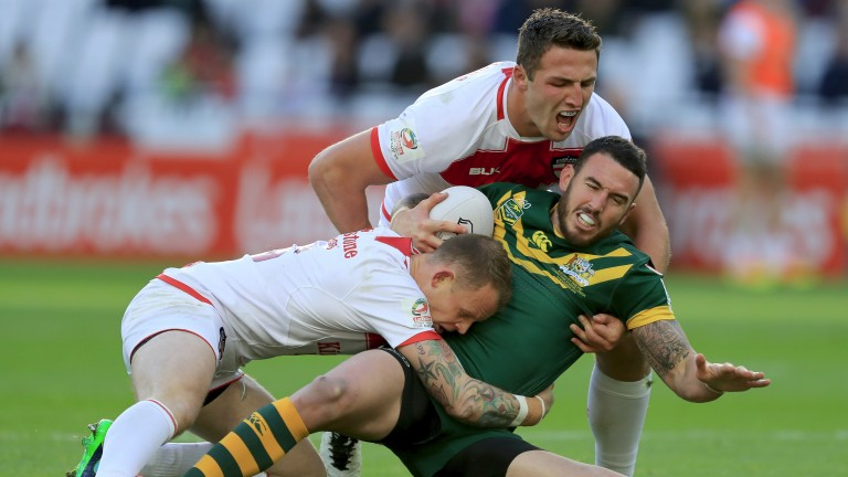 England's Kevin Brown and Sam Burgess get to grips with Australia full-back Darius Boyd
