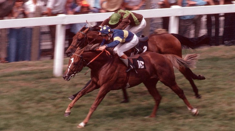 "Grundy defeating Bustino in the ""race of the century"" at Ascot"