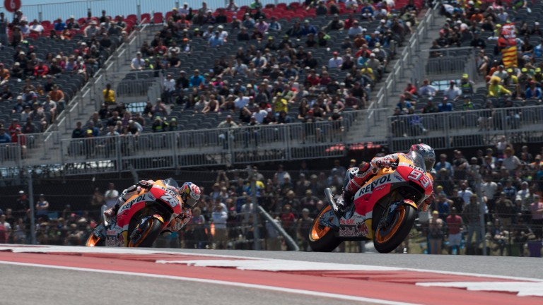 Marc Marquez leads his Honda teammate Dani Pedrosa in Texas