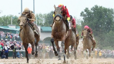 Abel Tasman (right): Kentucky Oaks winner will be a hot favourite for the Coaching Club American Oaks in which she renews rivalry with Daddys Lil Darling (left)