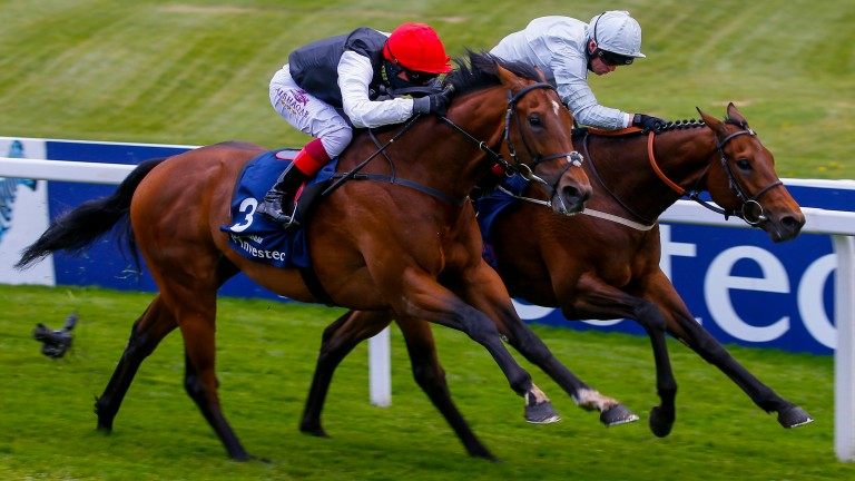 Cracksman (near side) wins the Investec Derby Trial last month