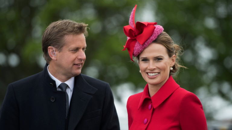Presenting pearls: Francesca Cumani smiles for the camera on her first day working for ITV Racing alongside Ed Chamberlin