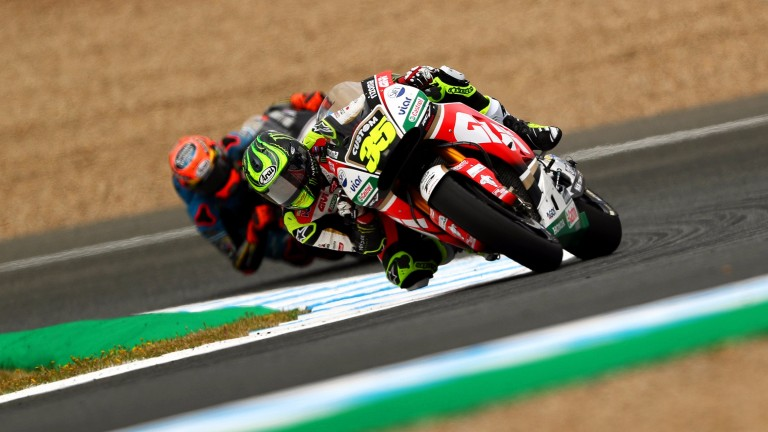 Cal Crutchlow puts his Honda through its paces in practice