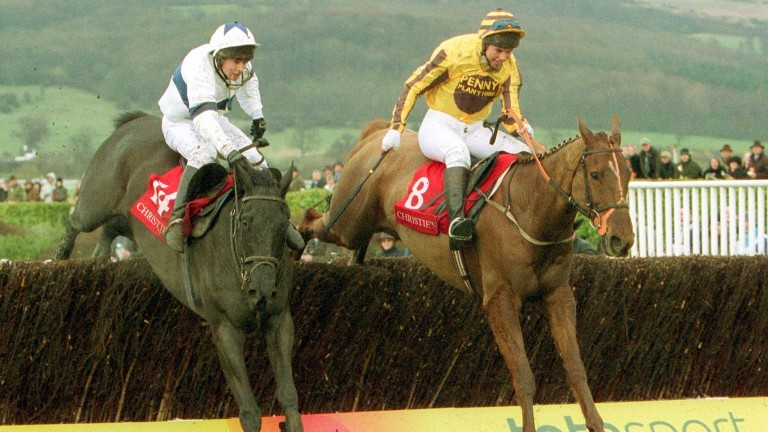 Earthmover (right) heads to victory in the 2004 Foxhunter for Richard Barber