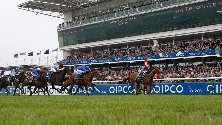 NEWMARKET, ENGLAND - MAY 06:  Ryan Moore riding Churchill (R) wins The Qipco 2000 Guineas Stakes at Newmarket Racecourse on May 6, 2017 in Newmarket, England. (Photo by Alan Crowhurst/Getty Images)