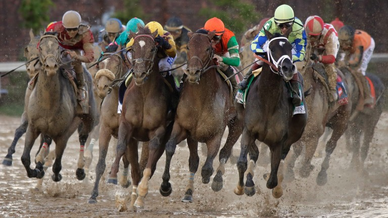 Always Dreaming (right) leads the field into the stretch during the Kentucky Derby