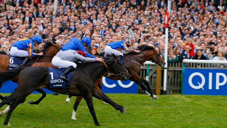 Al Wukair (no 1) finishes fast in third behind Churchill and Barney Roy at Newmarket