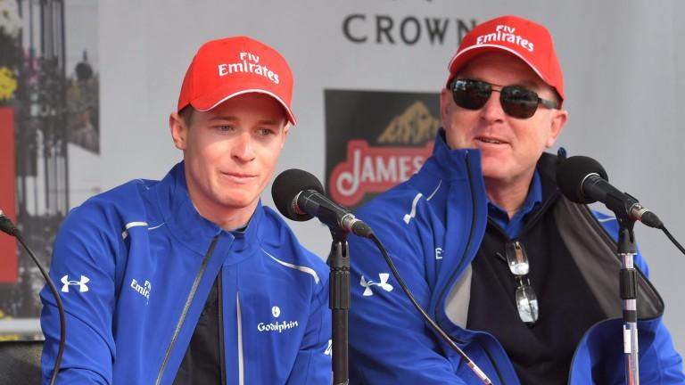 John O'Shea, right, with Godolphin's one-time Australian rider James McDonald