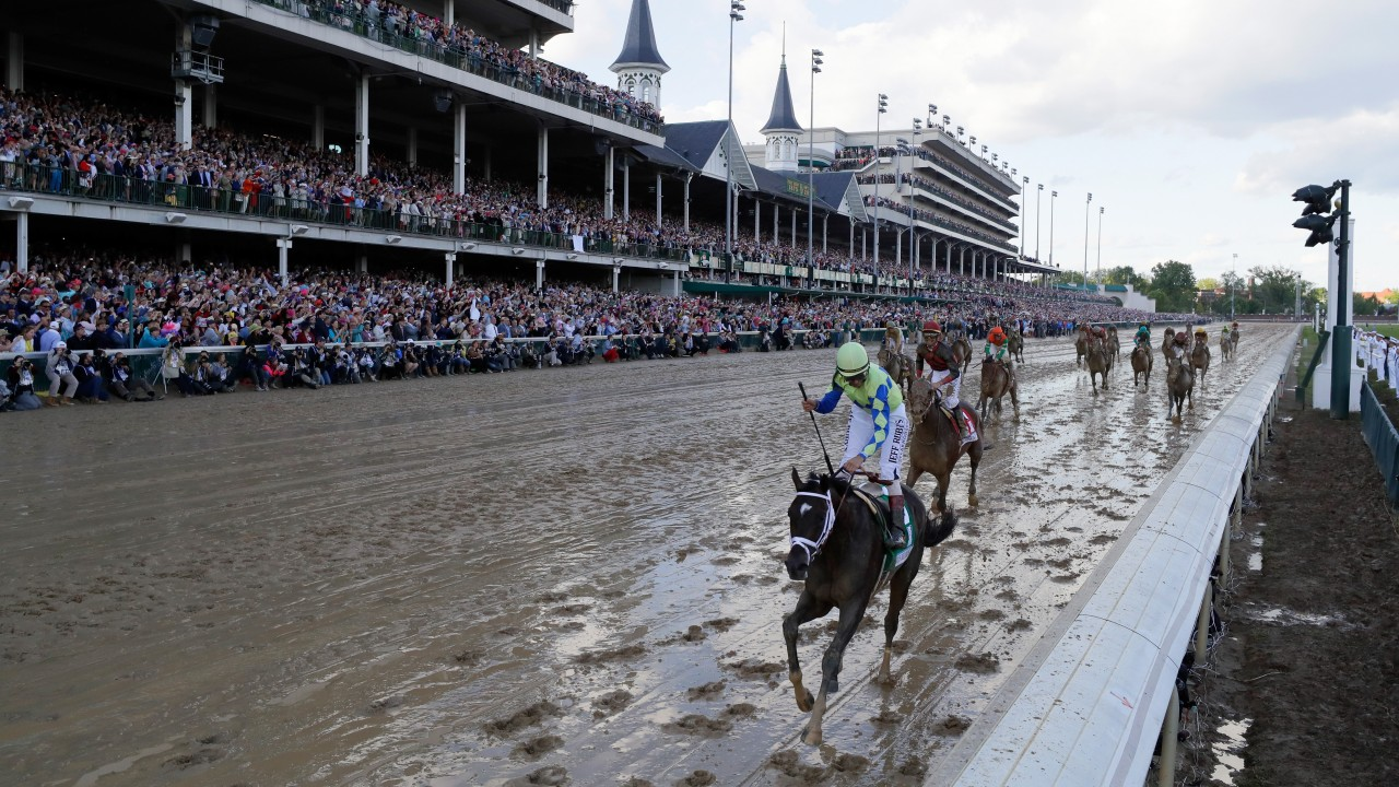 Always Dreaming checks into Pimlico's Stall 40 for Preakness