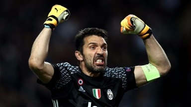 Gianluigi Buffon celebrates Juventus's first-leg win at Monaco