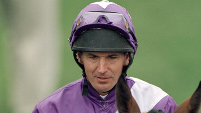 Allan Mackay on Classic Eagle prior to the Epsom Derby in 1996