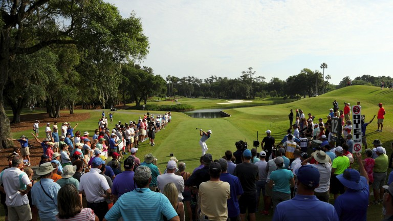 Rickie Fowler plays the 12th hole prior to the redesign