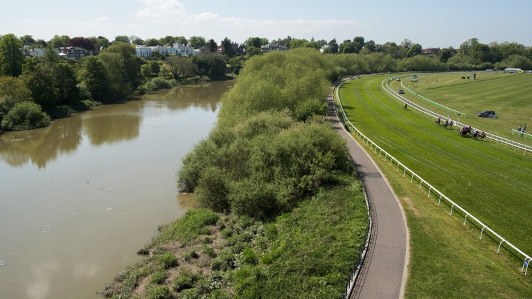 Scenic view: the runners in the Lily Agnes Stakes race past the River Dee