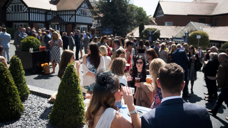 Light refreshments: racegoers enjoy a drink in the warm sunshine