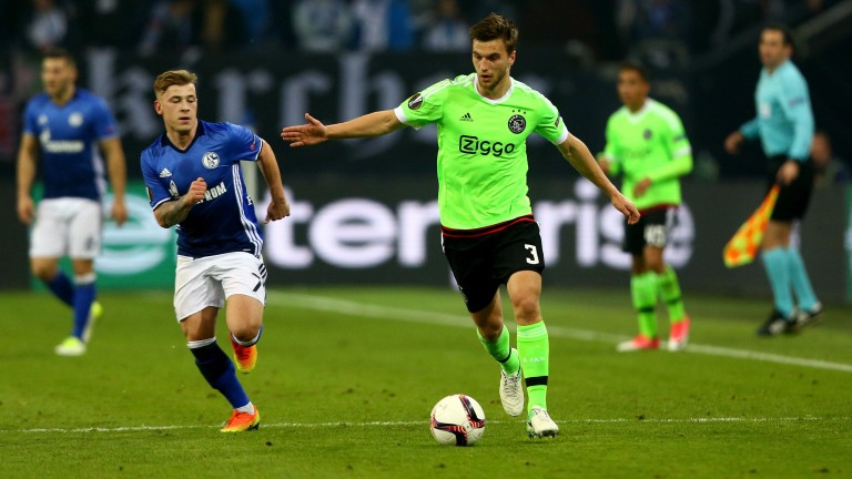 Joel Eltman of Ajax n action against Schalke in the quarter-finals
