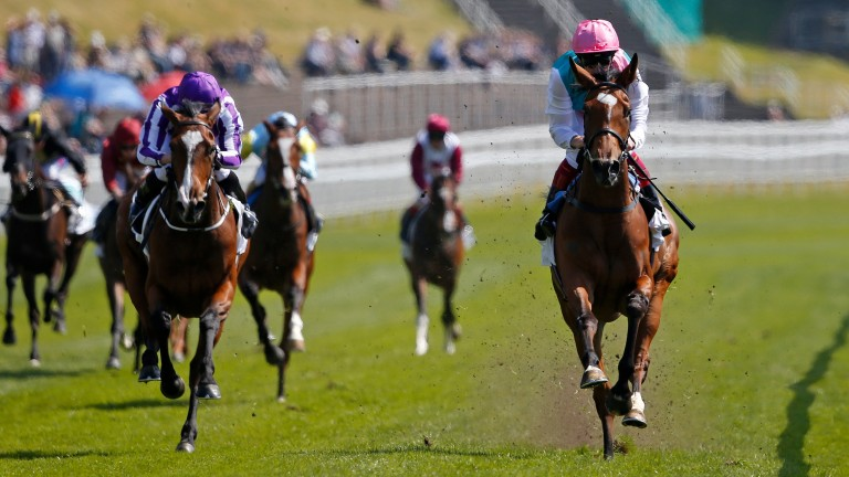 Enable and Frankie Dettori (right) win the Cheshire Oaks at Chester in May 2017