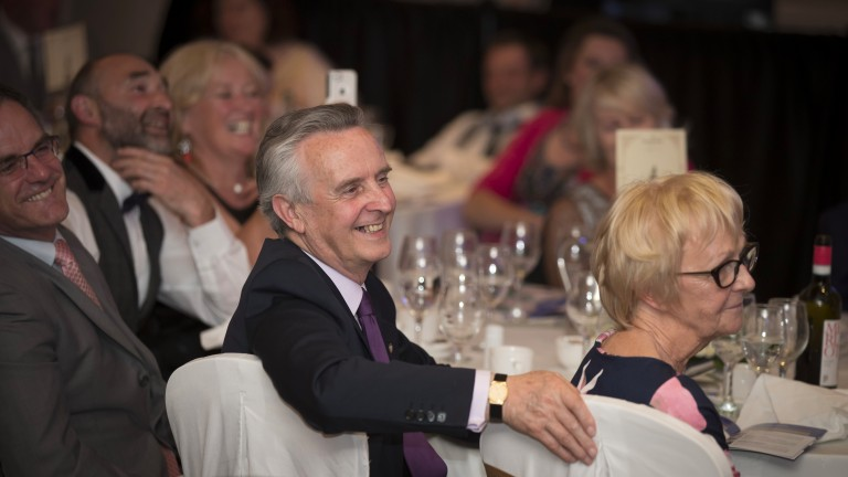Jim Bolger looks on approvingly during his assistant Adrian Taylor's acceptance speech