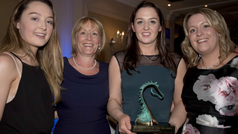Sarah McCrory, winner of the Newcomer Award, enjoys the moment with her family