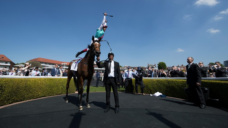 Up, up and away: Frankie Dettori makes a flying dismount from Enable after the pair landed the Cheshire Oaks