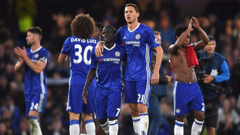 N'Golo Kante (left) and Nemanja Matic played important midfield roles in Chelsea's 3-4-3 formation