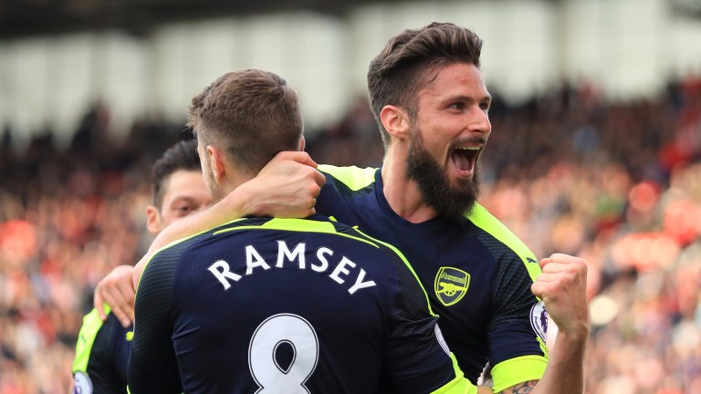 Olivier Giroud scored twice for Arsenal at Stoke on Saturday