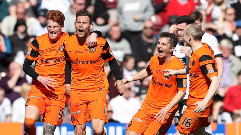 Dundee United celebrate during the Scottish Challenge Cup final