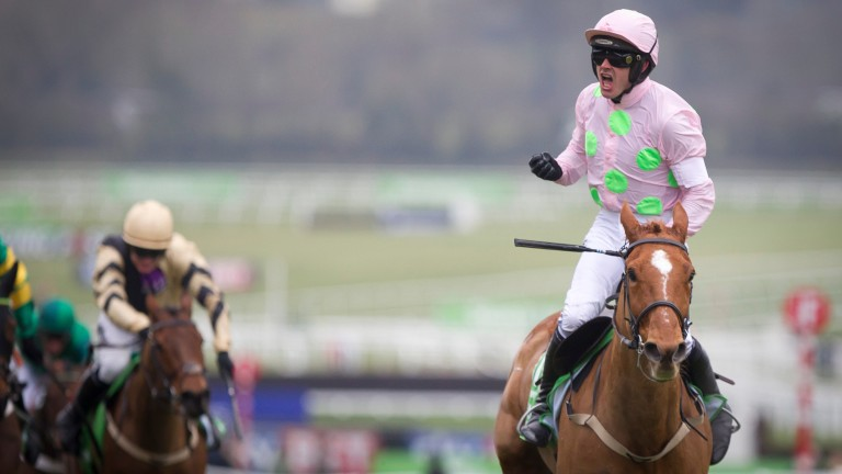 Celebrations from Ruby Walsh as Annie Power wins the 2016 Champion Hurdle