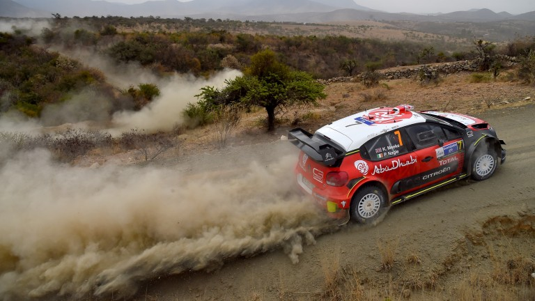 Kris Meeke on his way to victory in Mexico