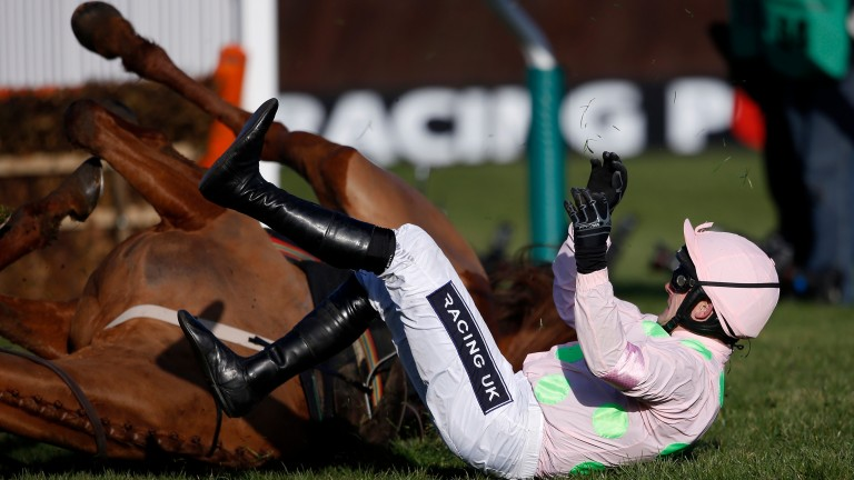 Down and out: Ruby Walsh and Annie Power on the deck in the 2015 OLBG Mares' Hurdle