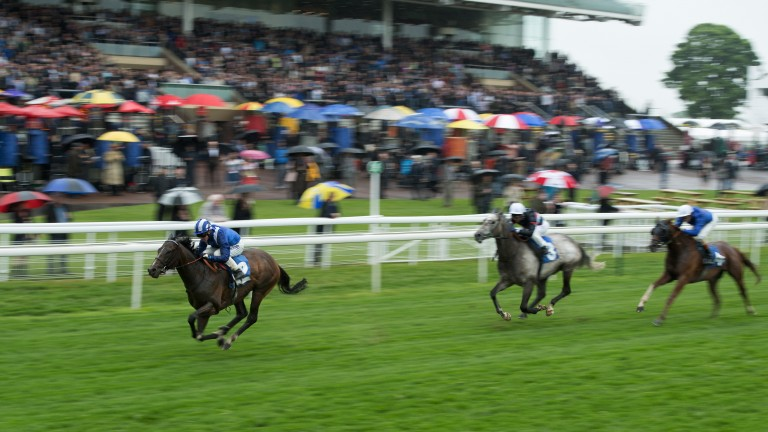 Tasleet runs out a two-and-a-half-length winner of the Group 2 Duke of York Stakes