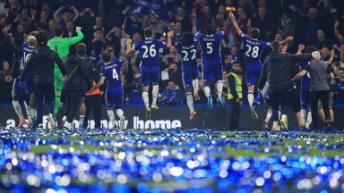 Chelsea celebrate after their Premier League match against Watford at Stamford Bridge
