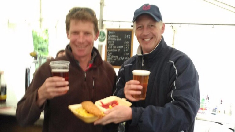 David Redvers (left) and David Pipe enjoy a pint after Sacre Toi's victory at Cothelstone point-to-point