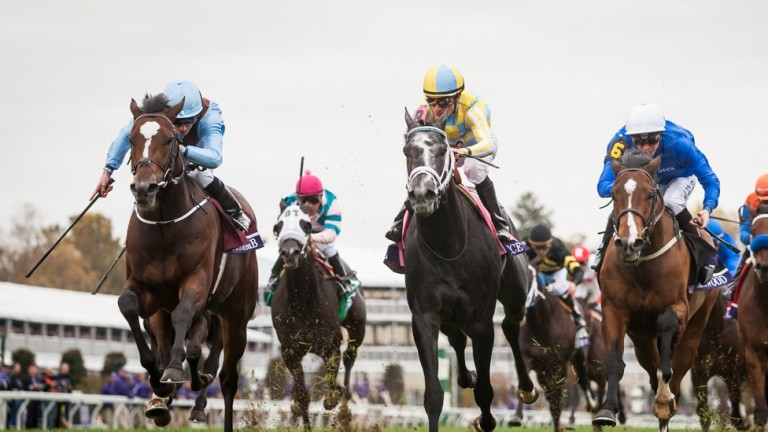 Hit It A Bomb (left) lands the Breeders' Cup Juvenile Turf