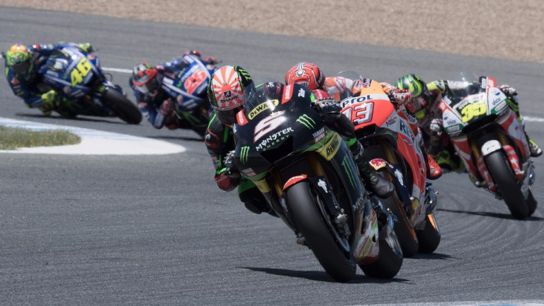 Johann Zarco leads the field during the Spanish Grand Prix