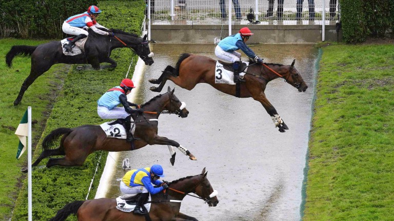 So French and James Reveley: lead them over the water on the way to victory in the 2016 Grand Steeple-Chase