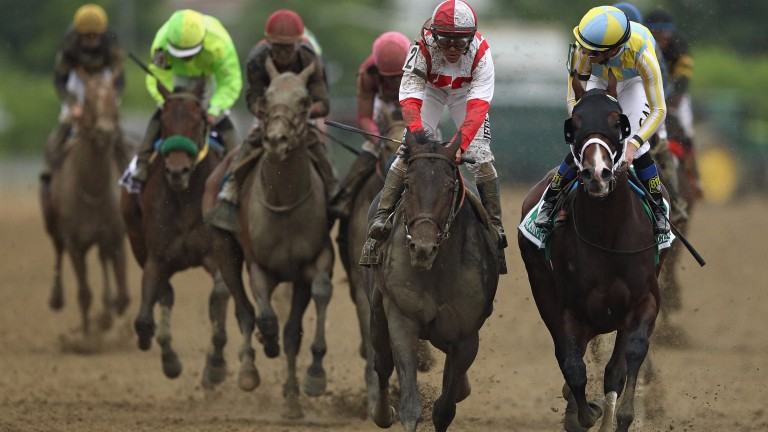 Julien Leparoux on Classic Empire (right) must be fearing the worst as he looks across at winner Cloud Computing (Javier Castellano, red and white silks) at the wire in the Preakness Stakes