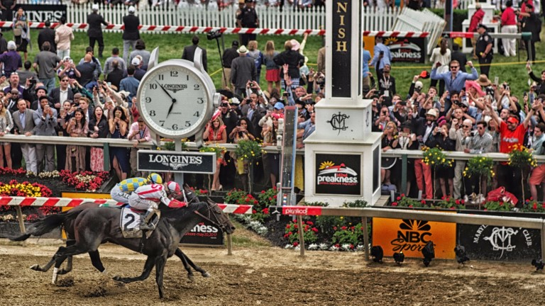 Cloud Computing nails Classic Empire in the shadow of the post to win the Preakness Stakes; he clashes again with Always Dreaming, who was only eighth at Pimlico