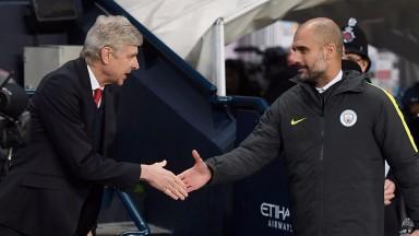 Arsene Wenger shakes the hand of Pep Guardiola