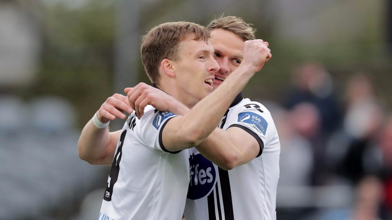Dundalk's David McMillan and Dane Massey celebrate a goal against Bohemians